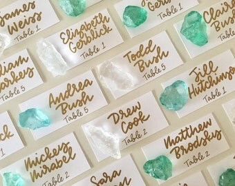 Sea Glass Escort Cards | Beach Wedding, Colored Rocks, Escort Cards, Place Cards, Seating Cards