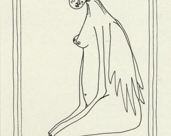 "Original drawing, 5""x7"" original artwork, seated angel, figure drawing, mystical art"