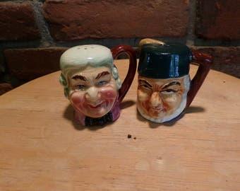 Toby mug head salt and pepper shakers, Toby shakers, 1960's prop, head salt and pepper shakers, Toby