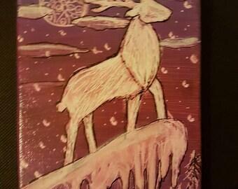 Antler moon  Postcard size canvas