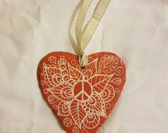 Rainbow Slate Heart Hanging 10cm across