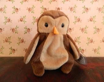 "TY Brown Owl Beanie Baby ""Hoot"" (B)"