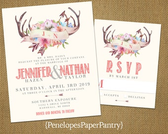 Rustic Summer Wedding Invitation,Ivory,Coral,Floral Antlers,Wildflowers,Romantic,Rustic,Custom,Printed Invitation,Wedding Set,Ivory Envelope