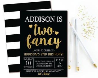 Two Fancy Birthday Invitation - Girls Birthday Party - Black & Gold 2nd Birthday Invitation - Printable Invite