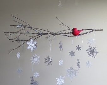 Snowflake Mobile - Home Decor, Holiday Decor, Hanging Mobile, Branch, Bird On Branch, Christmas Decoration, White Mobile