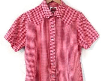 Miller Western Wear Red Gingham Vintage Button Down Summer Top sz Medium/Large