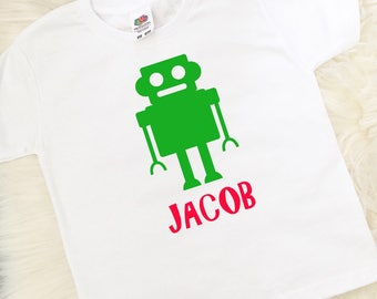 Personalised Robot T-Shirt, Robot Top, Personalised Gifts, Boys Gifts, Boys Clothing, Birthday Gift, UK