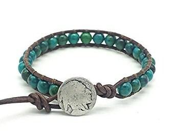 leather wrap bracelet, wrap bracelet, leather bracelet, azurite gemstone bracelet, indian head nickel, gemstone jewelry, adjustable, boho