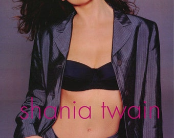 Shania Twain Grey Striped Suit Rare Poster