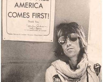 Keith Richards Rolling Stones Drug Free America 1970's Poster