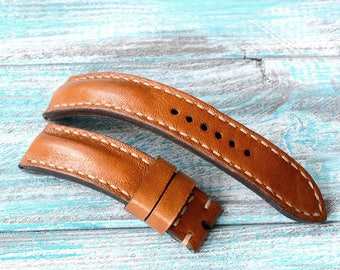 22x20mm tan color leather watch strap Breitling style for any watches