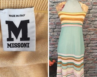Vintage MISSONI Knit Halter Dress. Made In Italy  Italian size 46, USA  Size 8-10