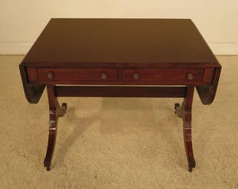 41653E: NAHON Duncan Phyfe Drop Leaf Mahogany Library Table