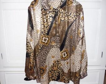 JOHN TYORAN size 18 UK (46 fr) blouse - 1980s