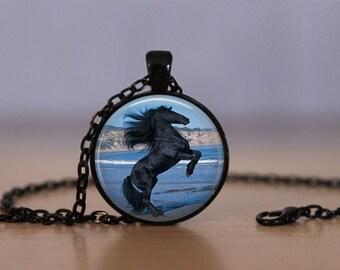 Black Stallion Pendant Necklace Horse Stallion Jewelry