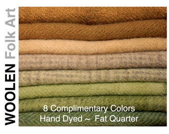 Rug Hooking or Appliqué Wool Hand Dyed Felted Wool Bundle #23   Fat Quarter in 8 Colors