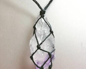 Amethyst Crystal Hemp Wrapped Necklace