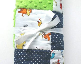 Blue and Lime Green Baby Quilt
