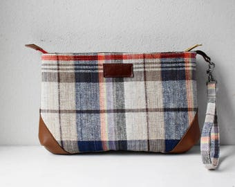 Linen Pouch in Pouch(Plaid)