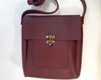 Burgundy leather messenger bag, handmade, leather cross body bag, leather cross body bag, burgundy leather bag