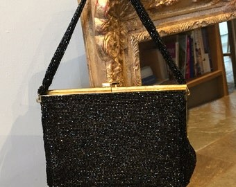 Vintage Black Beaded Evening Bag - 1950s