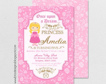 Sleeping Beauty Princess Birthday Party Invitation 1 With or Without Photo, Customized, Digital File