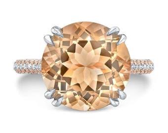 6.50 Ct. Brilliant Round Cut Morganite Solitaire Engagement Ring on 14K Rose Gold & Platinum with Diamonds