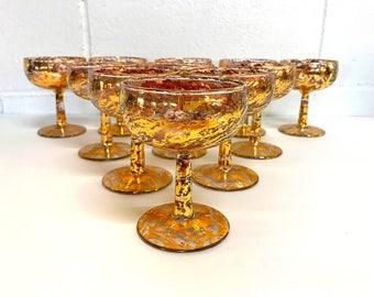 Gold Splatter Champagne Coupe Glasses Gold Speckled Cocktail Glasses Gold Flecked Glass SET OF 11 Hollywood Regency Mid Century Barware