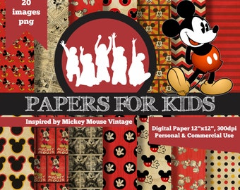 Digital Papers, Mickey Mouse Vintage, Kids, Invitation, Background, Birthday, Clipart, Papers for Kids