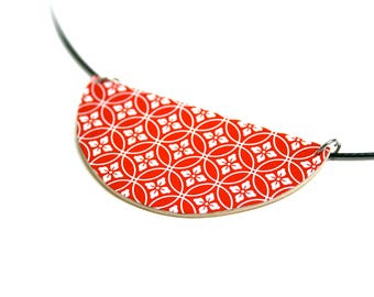 Necklace leather geometric paper Japanese washi