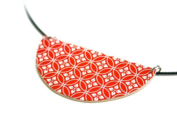 Necklace leather geometric paper Japanese washi