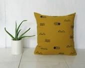 Mustard Linen Pillow Cover with Black Symbol Print / Decorative Throw Cushion Bedding Accent Block Printed Yellow Flax Heiroglyphics Minimal