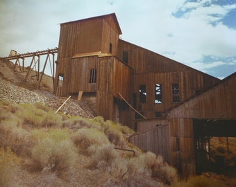 Vintage Mining House - Old Mining Building - Photograph of Mine - Old West Mining - Large Photograph - 40 x 30 Photograph