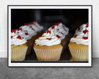 Cup Cakes, DIGITAL Download, Photography, Food Photo, Dessert, Fine Art, Kitchen Art, Cakes, Hearts