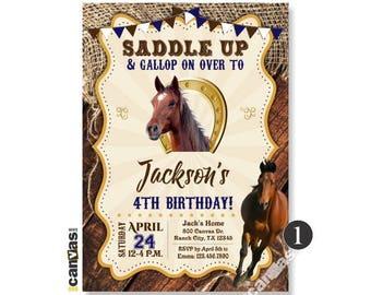 Horse Invitation, Horse birthday Invitation, Pony Invitation, Western, Horse Party, Shabby Chic, Burlap, Wood, Printable or Printed 458