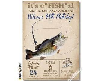 Fishing Invitations, Fishing Party Invitation, Surprise, Big Mouth Bass Invites, Boys kids Male 40th 12th Birthday Adult Fishing for Men 470