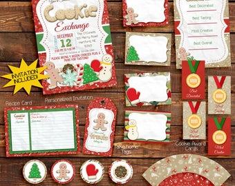 Cookie Exchange party invitation, Cookie Swap, Holiday Party Invitation