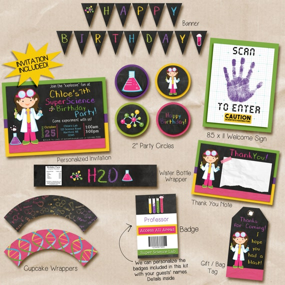 Girl science party invitation, science printable decorations