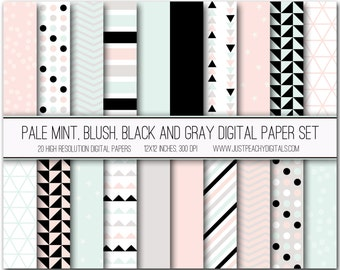 mint, blush, black and gray modern digital scrapbook paper with geometric patterns