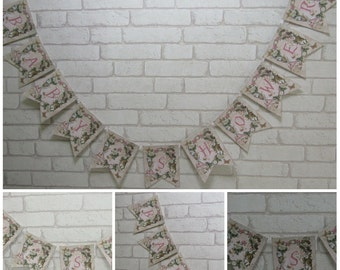 Floral Alice in Wonderland Baby Shower Bunting Garland Banner Flag Decoration - Party,