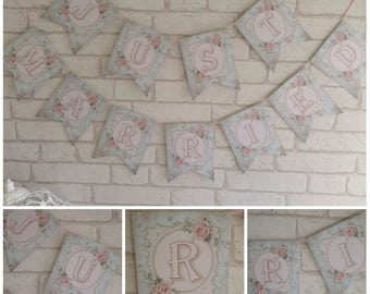 Shabby Chic Just Married Bunting Banner Garland Party,Wedding,Decoration