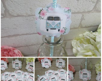 12 Retro Shabby Chic Campervan Straw Pen/Cake Toppers Tea Party,Decoration,Birthday, Camper Van Party