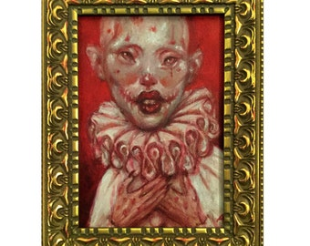 LITZIE 5x7 framed original oil painting dark art surreal lowbrow surrealism clown mime OOAK