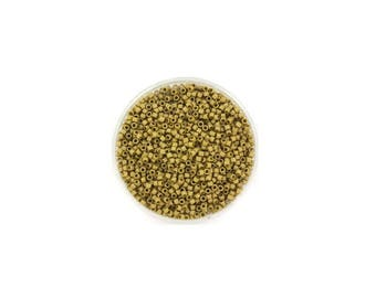 5 grams of beads Miyuki Delica 11/0 Green Olive gold matte Opaque luster
