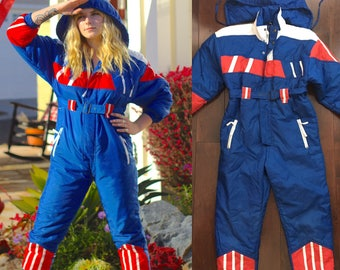 Vintage Ski suit red white blue puffy onesie snow outfit mens womens vintage kids XL Womems XS-S small festival sale 4th of July america rad