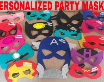 Twenty (20) Personalized Felt Superhero Felt Masks - Superhero Birthday Party Favors