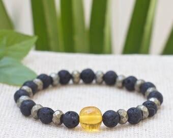 Mens bracelet, Mens beaded bracelet, Mens jewelry, Baltic amber bracelet, Mens lava rock stone bracelet, Yoga bracelet, Boyfriend son gift