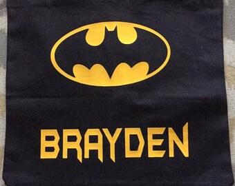 Personalized Halloween Trick or Treat Bag - Happy Halloween Tote - Canvas Halloween Bag - Batman -