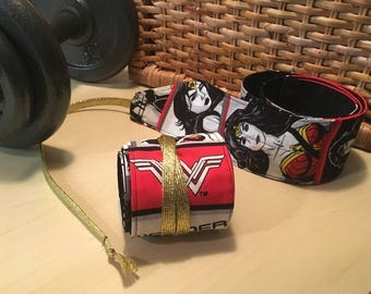 SALE! Wonder Woman Wrist Wraps, Crossfit gear,  Workout Gear, Wrist support, Gold laces, Special Edition