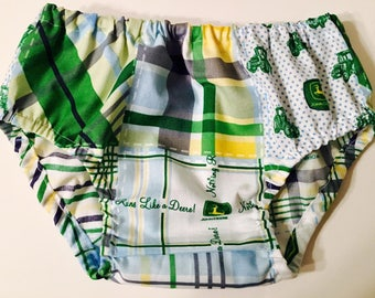 TippyNBoots Signature Baby Boy and Baby Girl John Deere Plaid Bloomer